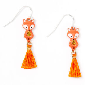 "Silver 1.5"" Farrah the Fox Tassel Drop Earrings - Orange,"