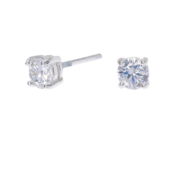 Sterling Silver Cubic Zirconia 4mm Round Stud Earrings