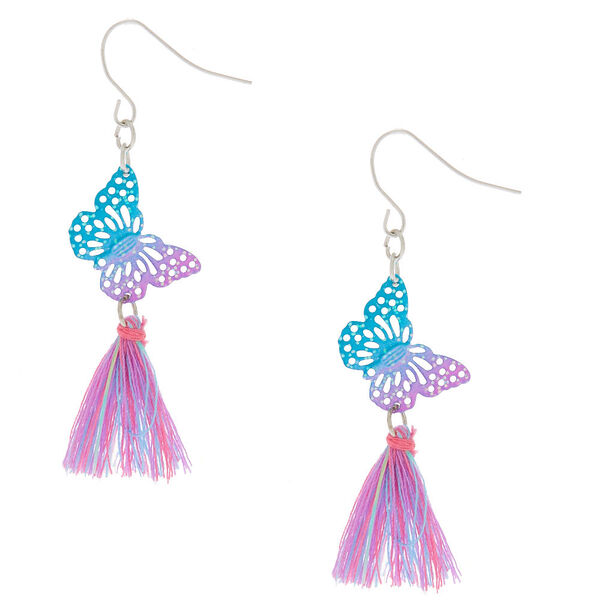 "Claire's - 2.5"" glitter butterfly tassel drop earrings - 1"