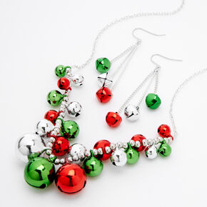 Silver Jingle Bell Jewelry Set - 2 Pack,