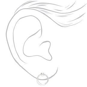 Sterling Silver Hoop Door Knocker Stud Earrings,