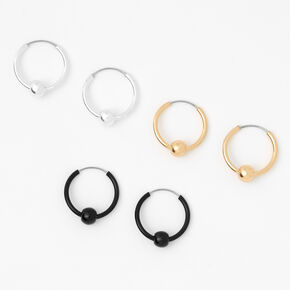 Mixed Metal 10MM Beaded Hoop Earrings - 3 Pack,