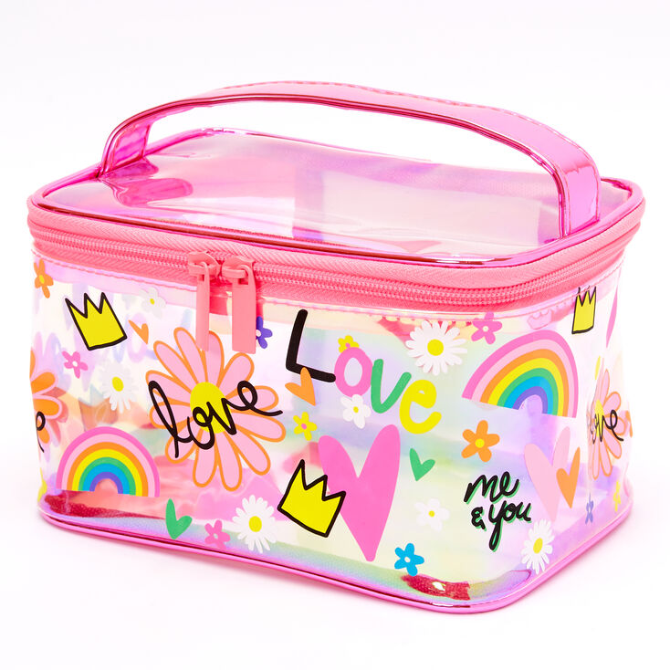 Team Rainbow Transparent Makeup Bag - Pink,