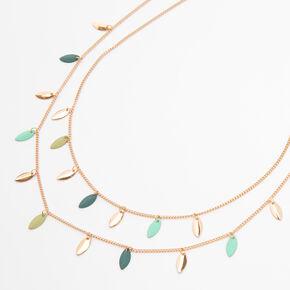 Gold Blue & Green Leaf Multi Strand Necklace,