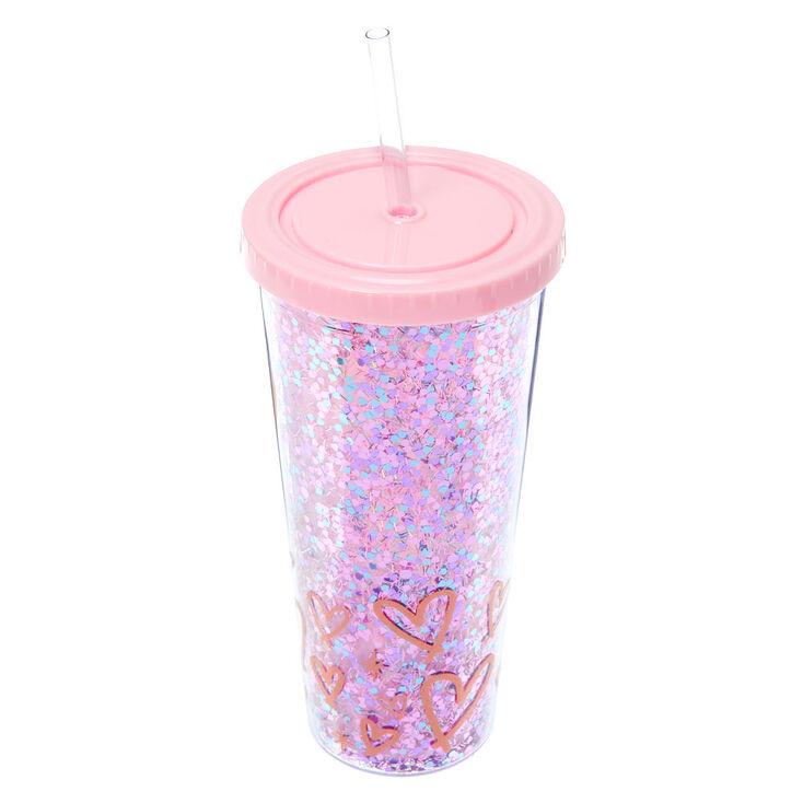 Confetti Glitter Hearts Tumbler Cup - Pink,