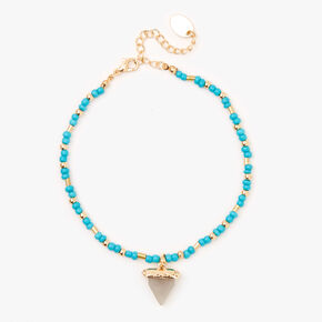 Gold Beaded Shark Tooth Anklet - Turquoise,