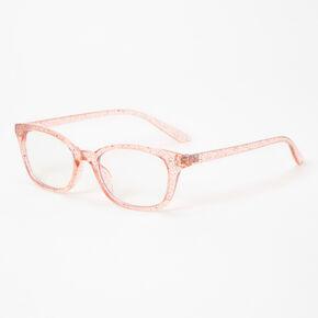 Blue Light Reducing Rectangular Clear Lens Glitter Frames - Pink,
