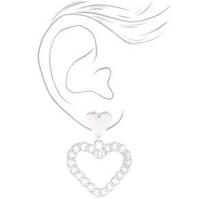 Silver Chain Link Hearts Drop Earrings,