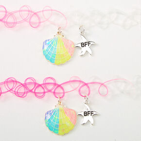 Best Friends Pastel Seashell Tattoo Choker Necklaces - Pink, 2 Pack,