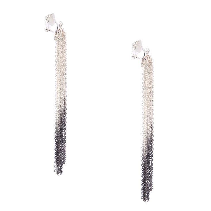 Pendants d'oreilles à clip avec frange à chaîne dégradé couleur argenté et noir,