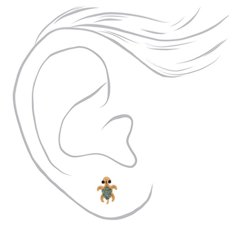 Gold Turtle Stud Earrings - Green,
