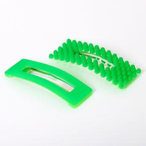 Barrettes clic clac rectangulaires à finition mate avec perles d'imitation - Vert fluo, lot de 2,