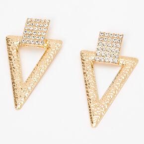 """Gold 2.5"""" Crystal Triangle Door Knocker Drop Earrings,"""