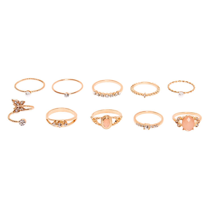 Rose Gold Embellished Romance Rings - Blush Pink, 10 Pack,