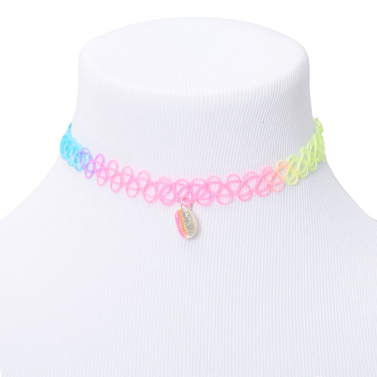 Claire's Club Glitter Cowrie Shell Rainbow Tattoo Choker Necklace,
