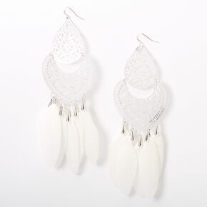 "Silver 6"" Filigree Feather Drop Earrings - White,"