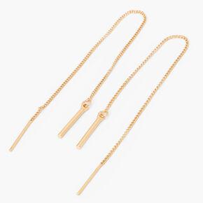 Pendantes barres filetées linéaires 10cm couleur dorée,
