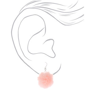 "Silver 1.5"" Pom Pom Drop Earrings - Light Pink,"