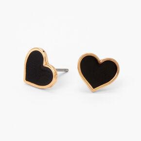 Gold Heart Stud Earrings - Black,