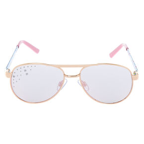 8017855357 Claire s Club Unicorn Aviator Sunglasses - Pink
