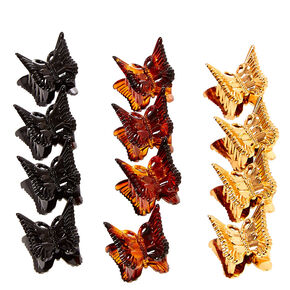 Mixed Neutral Butterfly Mini Hair Claws - 12 Pack,