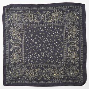 Silky Celestial Bandana Headwrap - Black,