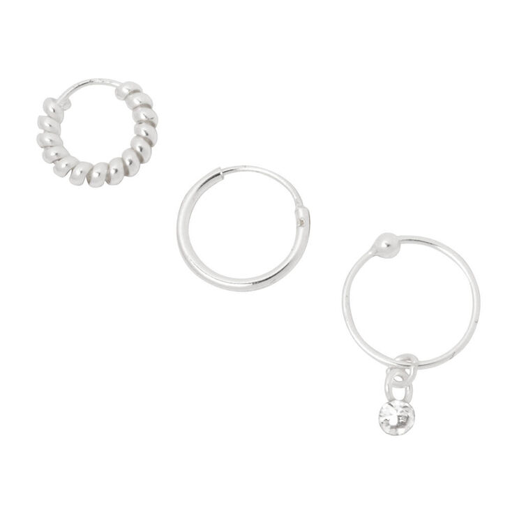 Sterling Silver Cartilage Hoop Earrings 3 Pack