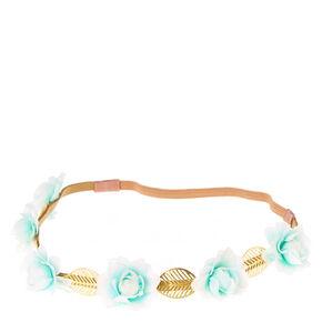 Gold Flower Leaf Headwrap - Mint,