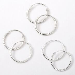 Sterling Silver 14MM Textured Hoop Earrings - 3 Pack,