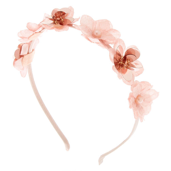 Claire's - rose pearl flower headband - 1