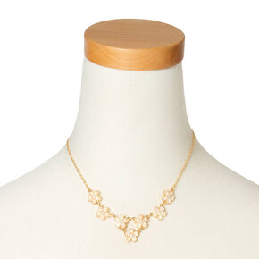 Dainty Ivory Glitter Stone Flowers Statement Necklace,