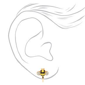 Gold Bumblebee Crystal Clip On Stud Earrings,