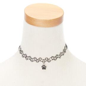 Paw Print Mood Tattoo Choker Necklace,