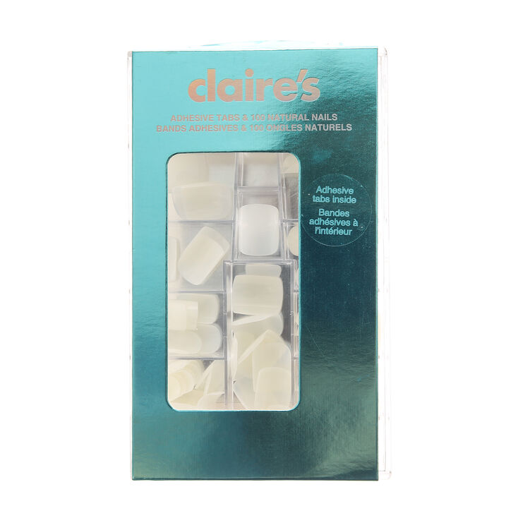 Square Natural Faux Nails With Adhesive Tabs - White, 100 Pack,
