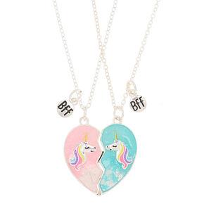 Best Friends Unicorn Heart Pendant Necklaces - 2 Pack,