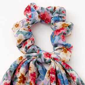 Small Lilac Flower Hair Scrunchie Scarf - Blue,