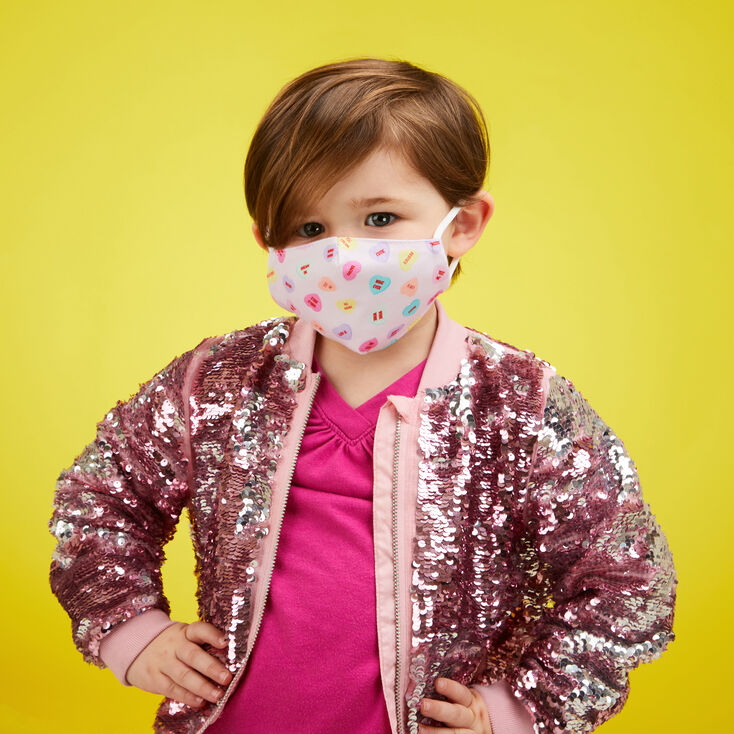 Cotton Conversation Hearts Pink Face Mask - Child Small,