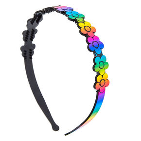 Rainbow Holographic Flower Headband,