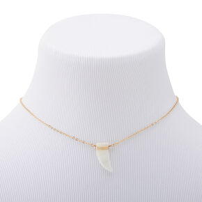 Gold Long Horn Shell Pendant Necklace,
