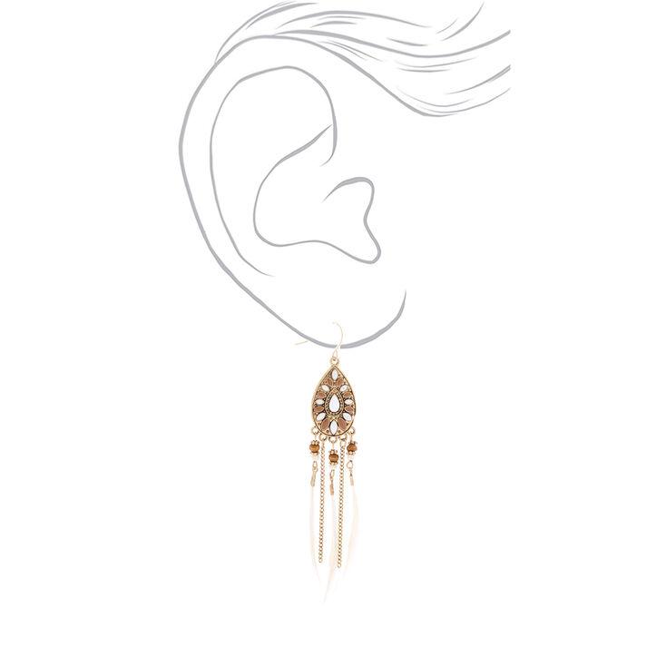 """Gold 4"""" Beaded Feather Teardrop Drop Earrings - White,"""