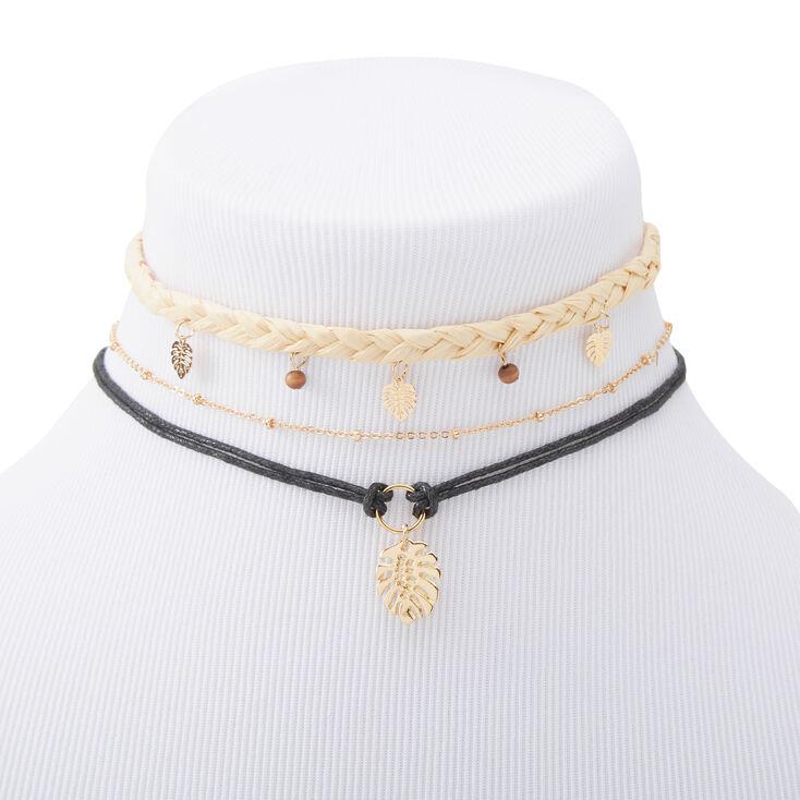 Palm Leaf Boho Choker Necklaces - 3 Pack,