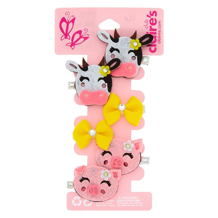 Claire S Club Farm Animal Hair Clips 6 Pack Claire S Us