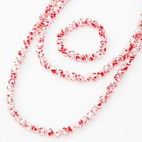 Parure de bijoux perlée motif éclaboussures de sang - Lot de 2,