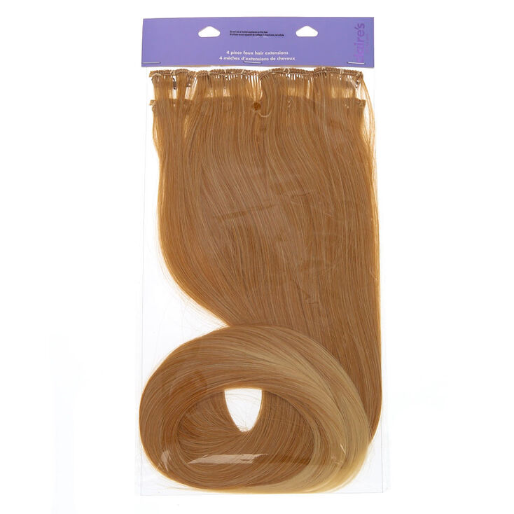 Straight Faux Hair Clip In Extensions - Blonde, 4 Pack,