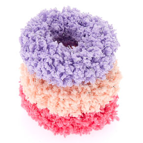 Small Fuzzy Glitter Hair Scrunchies - Pink, 3 Pack,