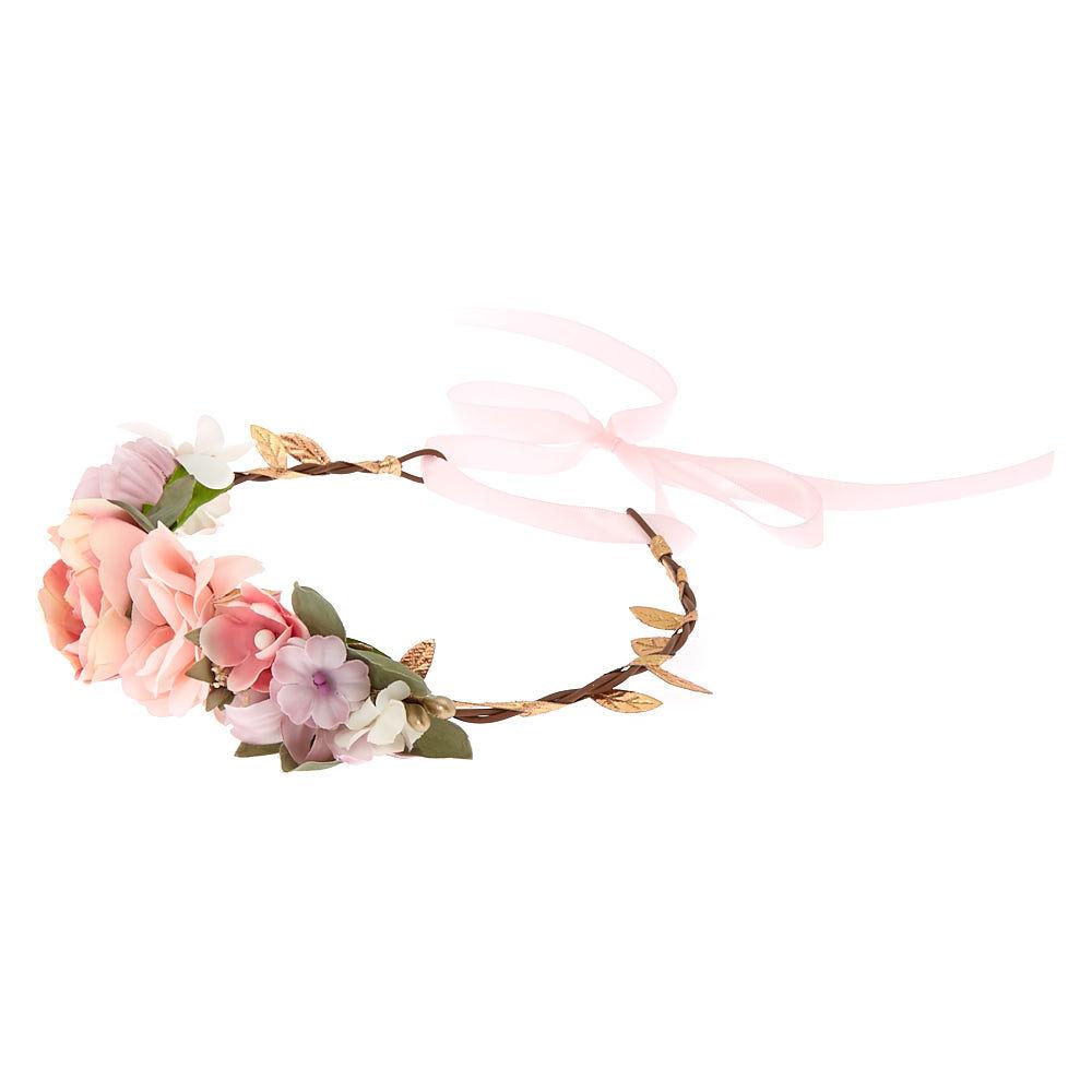 Pink Flower Sequin and Ribbon Drop Hoop Earrings