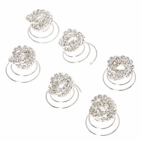 Twisted Glass Rhinestone Hair Spinners - 6 Pack,