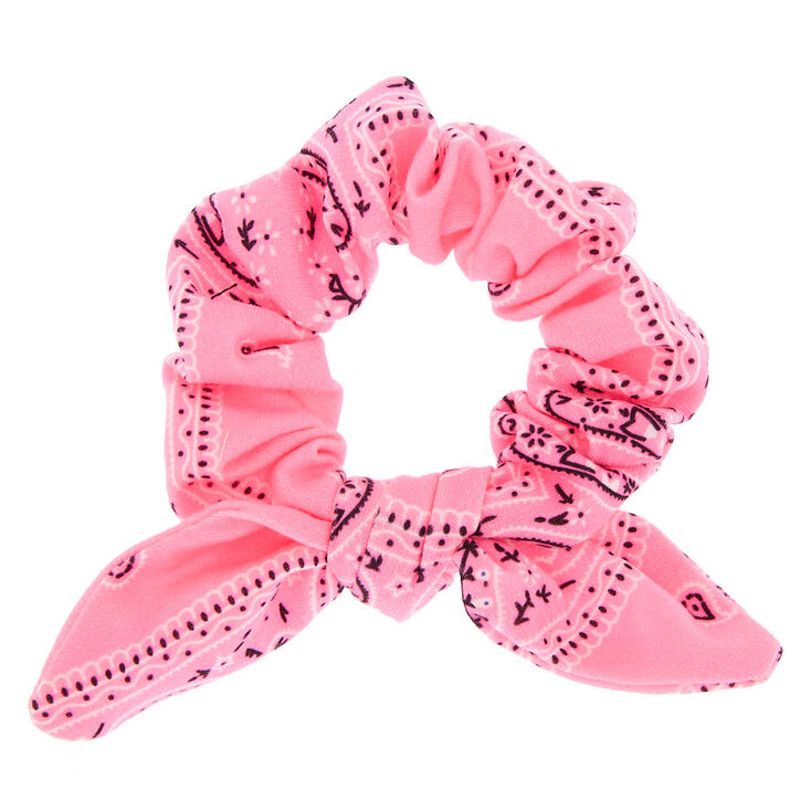 Small Bandana Knotted Bow Hair Scrunchie - Neon Pink,