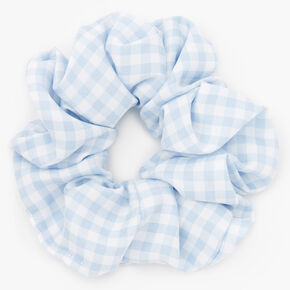 Medium Gingham Stripe Hair Scrunchie - Light Blue,