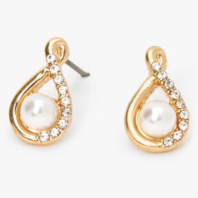 Gold Pearl Teardop Stud Earrings,